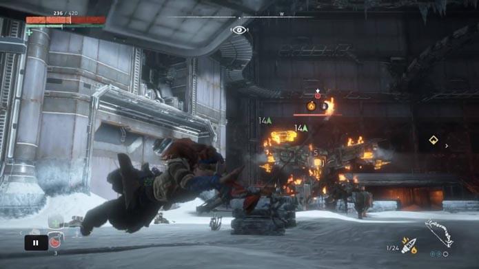 Use rolamentos durante toda a luta de Horizon: Zero Dawn (Foto: Reprodução/Murilo Molina)