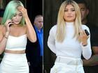 Kylie Jenner muda o visual e aparece com cabelo verde em Nova York