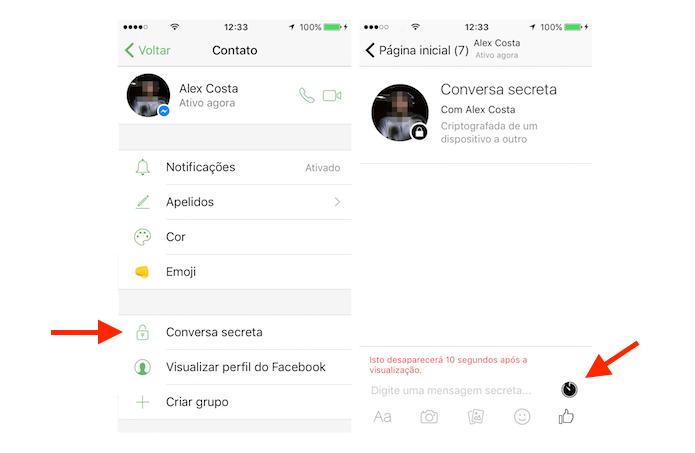 Configuração de uma conversa secreta do Facebook Messenger (Foto: Reprodução/Marvin Costa)
