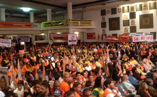 Convenção nacional do Solidariedade oficializou o apoio do partido oposicionista à candidatura de Aécio Neves (Foto: Letícia Macedo / G1)