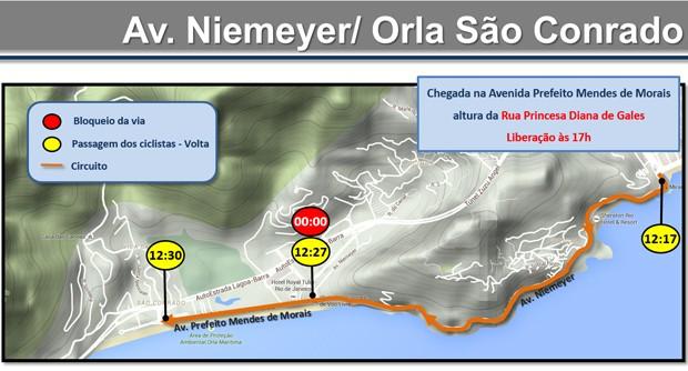 Chegada será em São Conrado (Foto: Reprodução / CET-Rio)