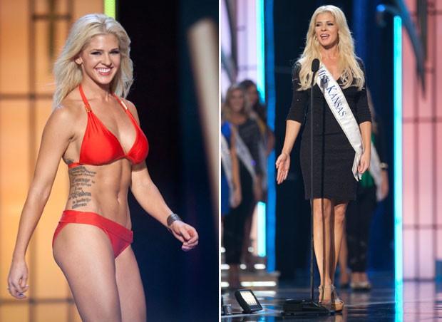 Sargento dos EUA após tornar-se MIss Kansas disputa título do Miss América (Foto: Carlo Allegri/Reuters)