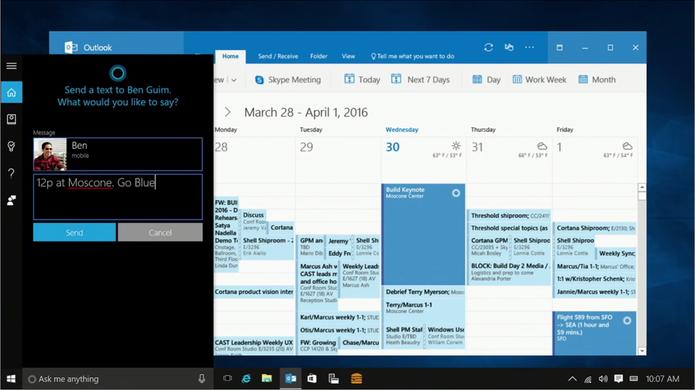 Cortana será capaz de responder mensagens de texto do Android e Windows 10 Mobile (Foto: Reprodução/Elson de Souza)