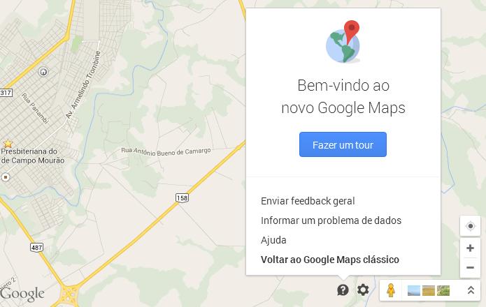 Acessando versão antiga do Google Maps (Foto: Reprodução/Helito Bijora)