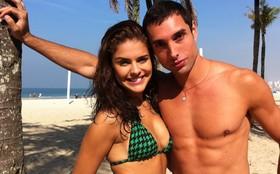 Paloma Bernardi e Leonardo Carvalho gravam cenas na orla de Copacabana