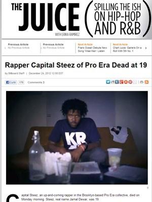 O rapper Capital Steez, do coletivo nova-iorquino Pro Era, morreu aos 19 anos na véspera do Natal de 2012, segundo blog da revista 'Billboard'; suspeita-se de suicídio (Foto: Reprodução/Billboard)