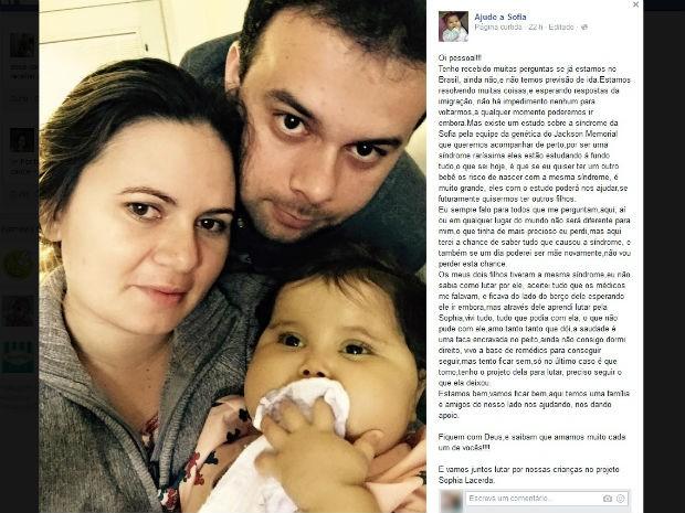 Família de Votorantim quer se precaver em possível gravidez (Foto: Reprodução / Facebook)