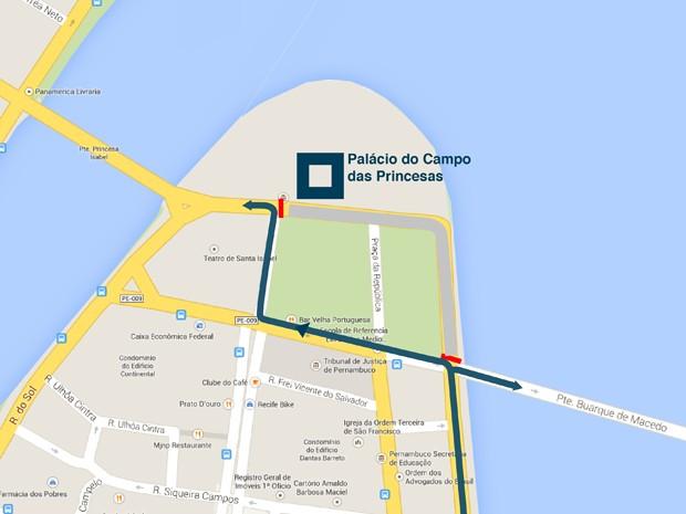Mapa mostra bloqueios no trânsito para cerimônia de posse do novo governador de PE (Foto: Divulgação/ Governo de PE)