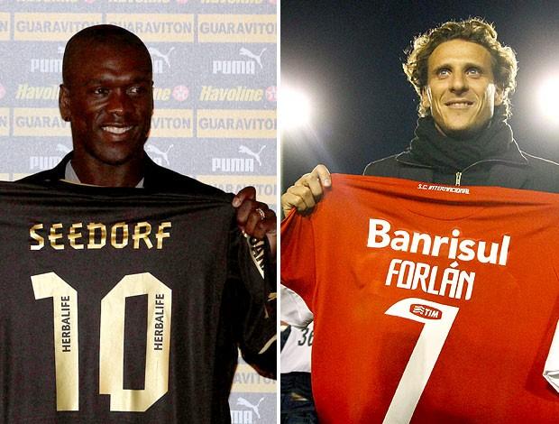 montagem Seedorf Forlán Botafogo Internacional (Foto: Editoria de Arte / Globoesporte.com)