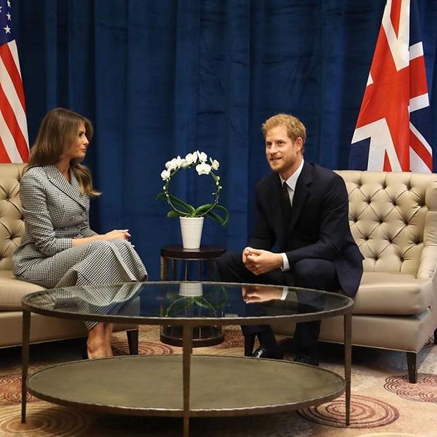 Príncipe Harry e Melania Trump (Foto: reprodução)