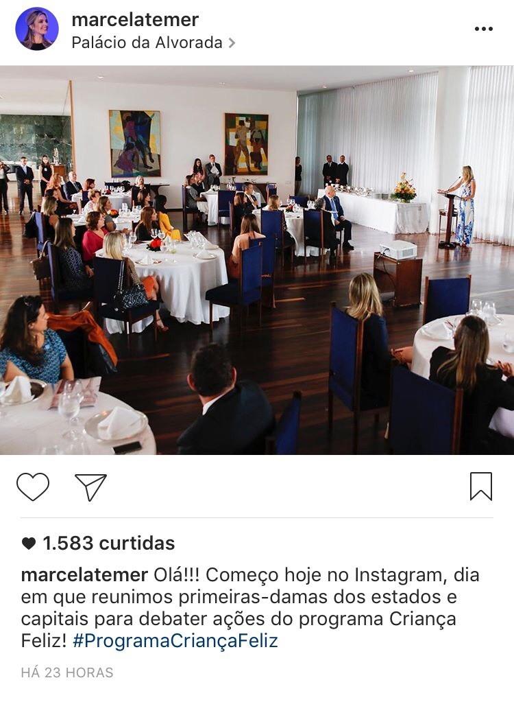 Primeiro post de Marcela Temer no Instagram: 1.583 curtidas (Foto: Reprodução)