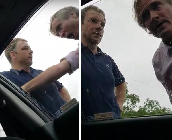 O produtor Fergus Beeley surtado e ameaçando a família do motorista que atingiu seu carro (Foto: YouTube)