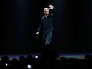 Tim Cook, presidente-executivo da Apple, durante a conferência de desenvolvedores da Apple. (Foto: Justin Sullivan/France Presse)