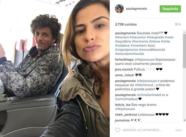 Paula Morais faz declaração para o namorado, João Souza, o Feijão (Foto: Reprodução/Instagram)