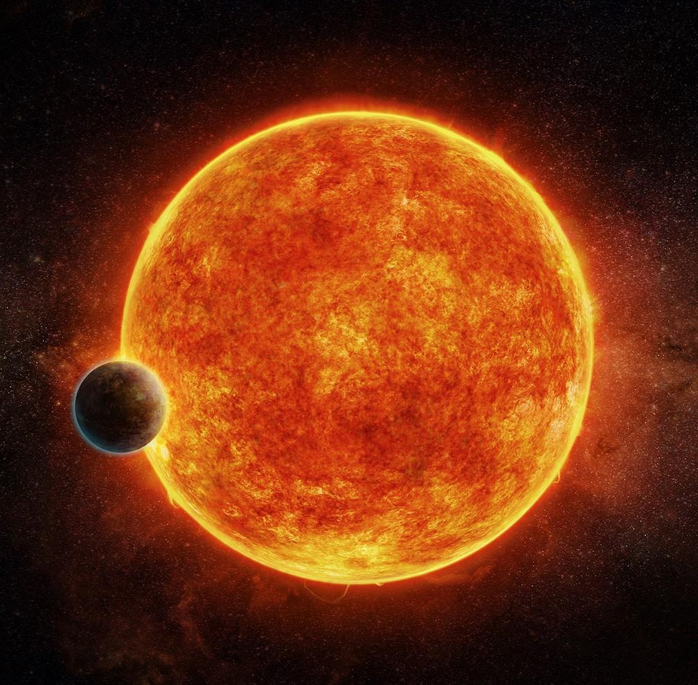 Ilustração mostra a estrela LHS 1140 e seu exoplaneta LHS 1140b (Foto: M. Weiss/CfA)