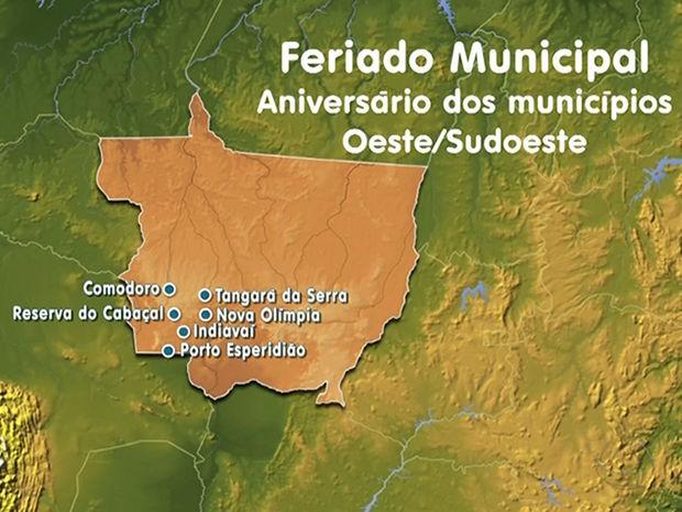 Municípios na região Oeste/Sudoeste de Mato Grosso que fazem aniversário nesta sexta-feira (Foto: Reprodução/TVCA)