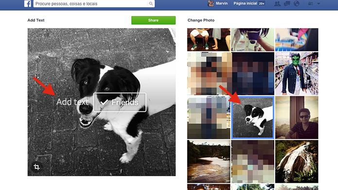 Selecionando uma imagem para adicionar a tag Friends e marcar amigos do Facebook (Foto: Reprodução/Marvin Costa)