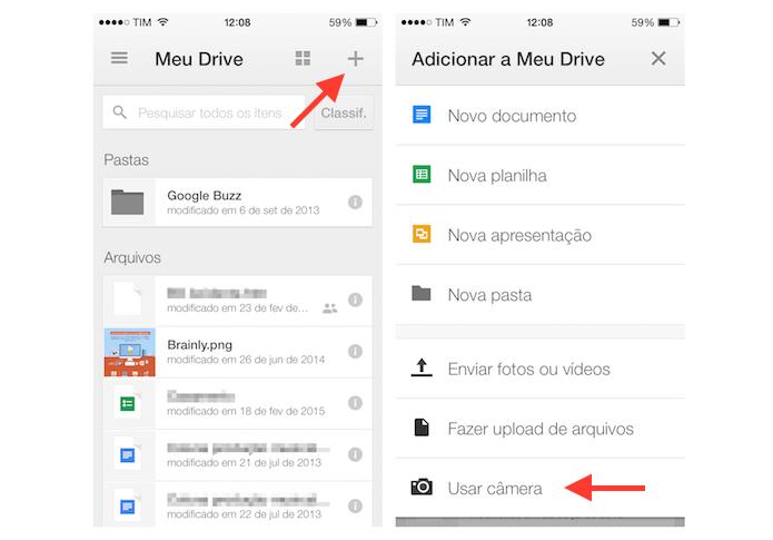 Acessando a câmera do iPhone através do Google Drive (Foto: Reprodução/Marvin Costa)