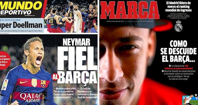 Montagem manchetes neymar (Foto: Editoria de arte)