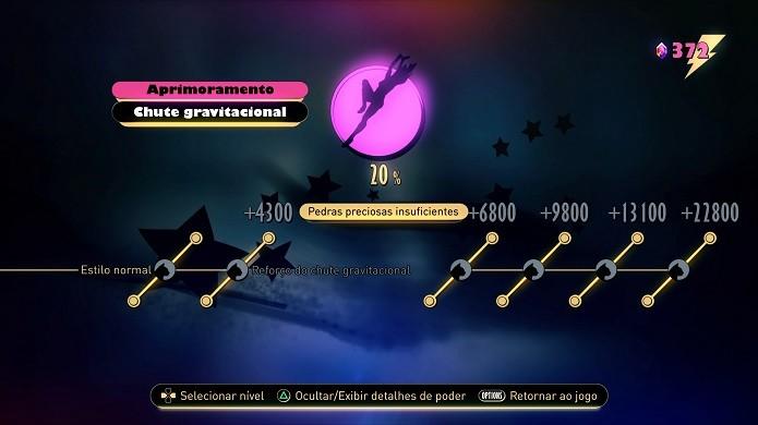 Gravity Rush 2: não há ordem para desbloquear os atributos (Foto: Reprodução/Victor Teixeira)
