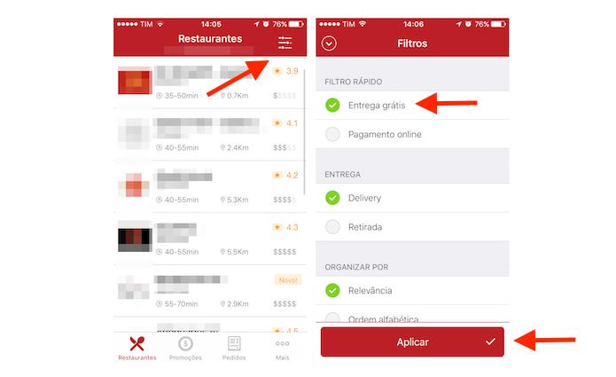 Configurando o filtro para entrega grátis no iFood para iPhone (Foto: Reprodução/Marvin Costa)