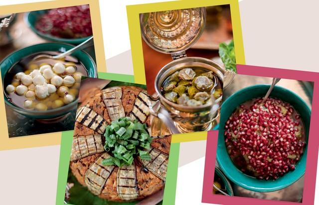 A partir da esquerda, esferas de coalhada no azeite com pimenta rosa; cuscuz de berinjela; coração de alcachofra no azeite com pimenta rosa; e berinjela tostada com alho, limão e sementes de romã (Foto: Rogério Voltan)