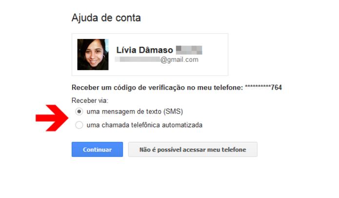 Envio de código de recuperação de senha da conta do Google (Foto: Reprodução/Lívia Dâmaso)