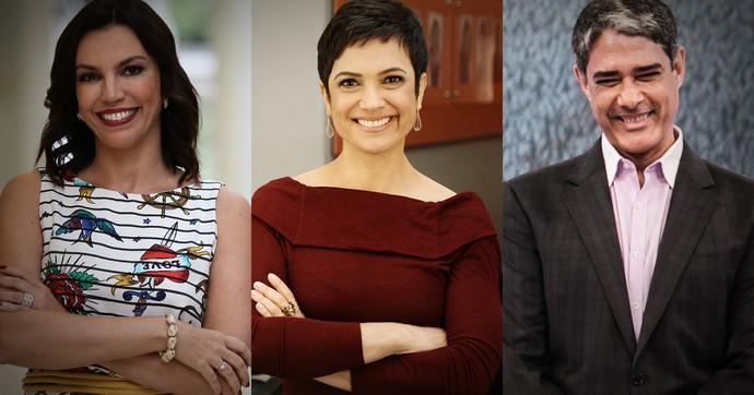 Ana Paula Araújo, Sandra Annenberg e William Bonner concorrem na categoria Jornalismo (Foto: TV Globo)