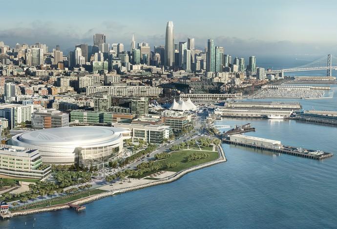 Vista aérea do projeto do novo ginásio dos Warriors, na Bay Area, em San Francisco (Foto: Divulgação)