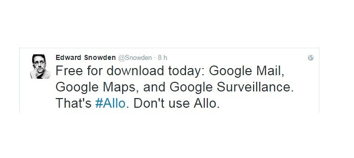 Snowden recomenda que usuários não use Google Allo (Foto: Reprodução/Twitter)