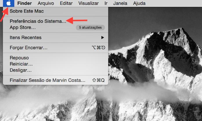 Acessando as preferências do Mac OS X (Foto: Reprodução/Marvin Costa)