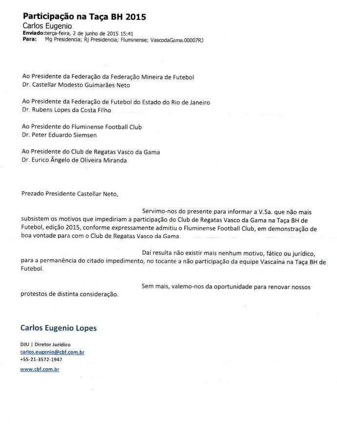 Comunicado CBF Vasco e Fluminense Taça BH (Foto: Reprodução / Site do Vasco)