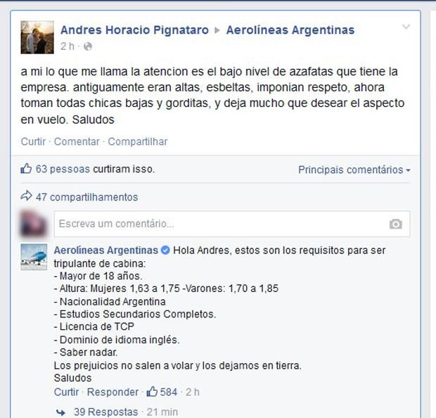Em post, cliente critica aparência de comissárias de bordo de companhia argentina e empresa responde: 'Preconceito fica em terra' (Foto: Reprodução/Facebook/Aerolineas Argentinas)