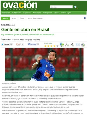 Print Ovación Digital, do jornal El País, do Uruguai (Foto: Reprodução / Ovación Digital)