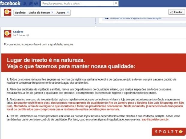 Logo depois da denúncia feita pelo G1, rede Spoleto se pronunciou por rede social (Foto: Reprodução/Facebook)
