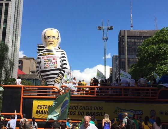Boneco inflável de Renan Calheiros na Av Paulista (Foto: Daniel Haidar)