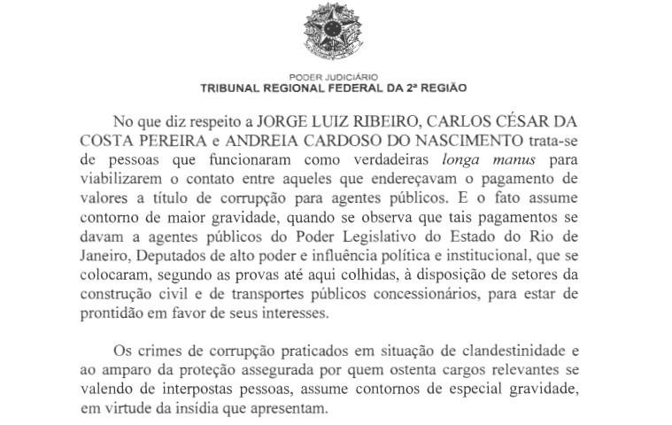 Trecho de despacho do desembargador Abel Gomes na Operação Cadeia Velha (Foto: Reprodução)