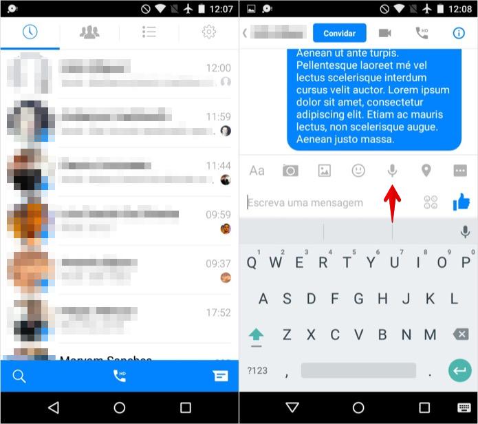 Enviando mensagem de voz no Messenger (Foto: Reprodução/Helito Bijora)