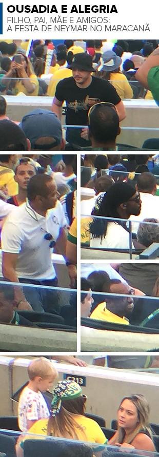 Mosaico Família e amigos Neymar Camarote maracanã (Foto: Editoria de arte)