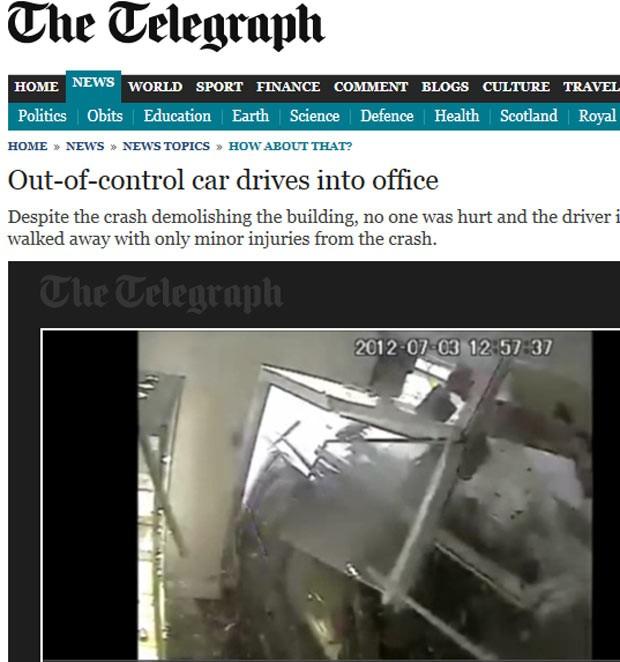 Carro desgovernado invade loja no Reino Unido (Foto: Reprodução)