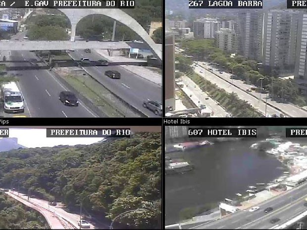 Cameras da Centro de Operações da Prefeitura mostram trânsito na Barra e São Conrado  (Foto: Reprodução/ Centro de Operações Rio)