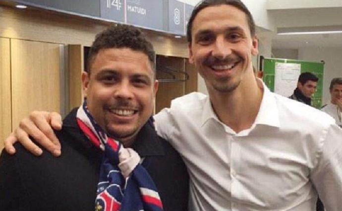 Ronaldo e Ibrahimovic no PSG (Foto: Reprodução/Twitter)