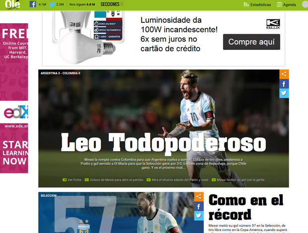 """BLOG: Após atuação brilhante, Messi é """"Todopoderoso"""" na imprensa argentina"""