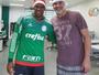 Natal no Verdão! Marcos e Jaílson posam com gorros de Papai Noel