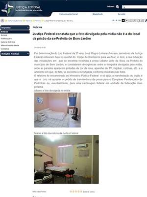 TRF-MA divulga imagem de quarto onde Lidiane estaria presa (Foto: Reprodução / Site TRF)