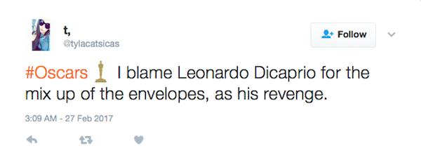 """""""Foi a vingança de Leonardo DiCaprio"""", acusou uma fã do ator (Foto: Twitter)"""