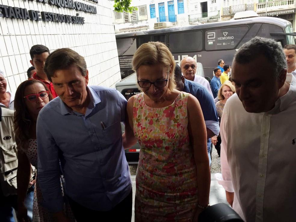 Prefeito do Rio chega ao Hemorio para doação de sangue (Foto: Fernanda Rouvenat / G1)