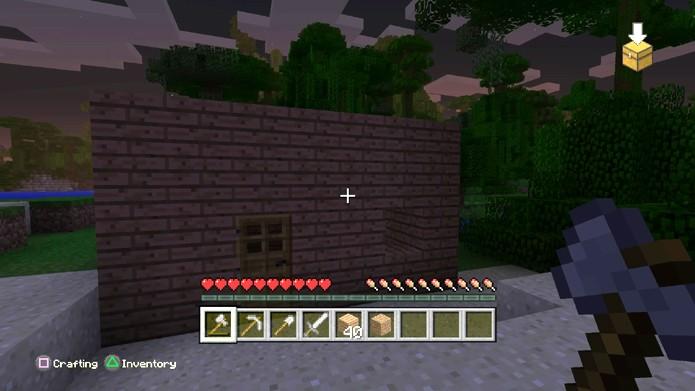 A criação de um abrigo é parte essencial para sobreviver em Minecraft (Foto: Reprodução/Rafael Monteiro)
