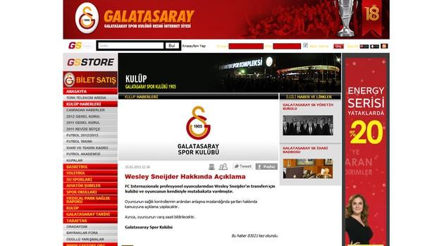 Wesley Sneijder anunciado no Galatasaray (Foto: Divulgação / Site Oficial)