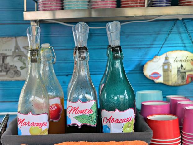 Maracujá, abacavxi e menta são alguns dos sabores vendidos em food truck de raspadinhas  (Foto: Quésia Melo/G1)